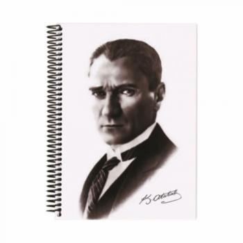 17*24 120 Yapraklı.Çizgili.Sipiral.Sert Kapaklı.Atatürk Defteri.