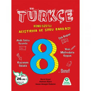 8. Sınıf Türkçe Konu Özetli Araştırma ve Soru Bankası Örnek Akademi Yayınları