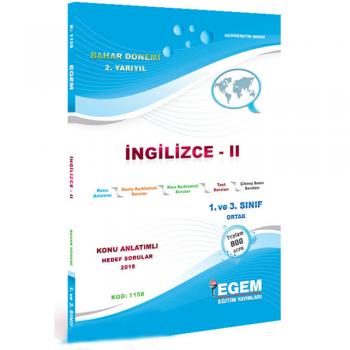 1. Sınıf 2. Yarıyıl İngilizce 2 Konu Anlatımlı Hedef Sorular Kod:1158 Egem Yayınları