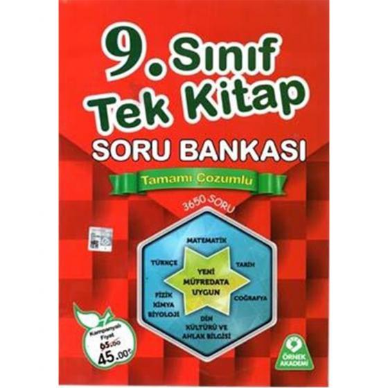 Örnek 9.Sınıf Tek Kitap Çözümlü Soru Bankası (Kampanyalı)