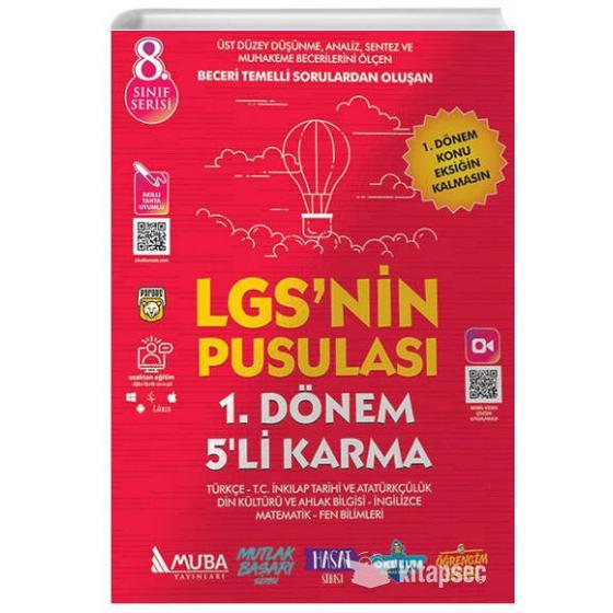 8. Sınıf LGS nin Pusulası 1. Dönem 5 li Karma Deneme Muba Yayınları